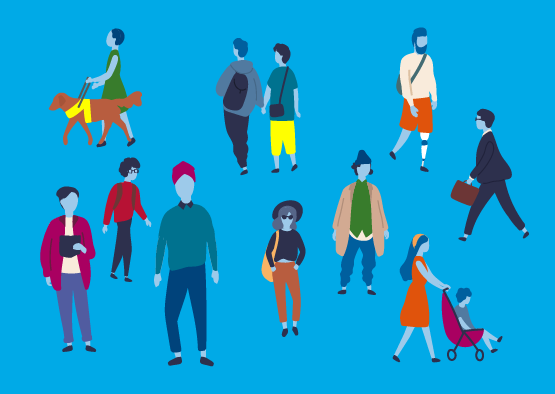 Image showing illustrated figures representing different people who might claim Universal Credit, including a guide dog user, a couple, a parent and people in work.